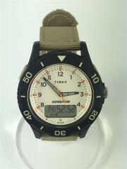 WR50M/クォーツ腕時計/デジアナ/キャンバス/クリーム/ベージュ