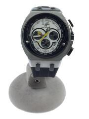 WT7T025/クロノグラフ/クォーツ腕時計/アナログ/ラバー/ホワイト/ブラック