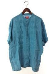 プルオーバー/キューバシャツ/ノーカラー/半袖シャツ/L/コットン/ブルー