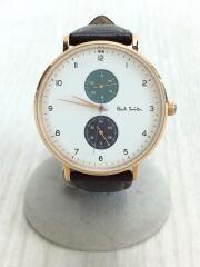 クォーツ腕時計/アナログ/レザー/革/ブラウン/茶/ゴールド/金/PS0070005