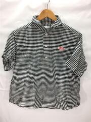 丸襟半袖プルオーバーシャツ/2016SS/半袖ブラウス/36/コットン/BLK/ギンガムCK