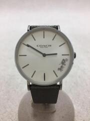 クォーツ腕時計/アナログ/レザー/SLV/GRY/14503155