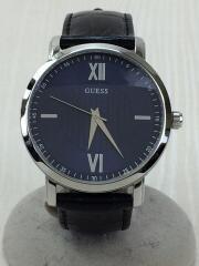 クォーツ腕時計/アナログ/レザー/BLU/BLK/クロコ型押し/w0793G2