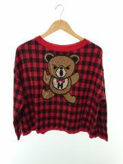 0153NS12/セーター(薄手)/FREE/アクリル/RED/チェック