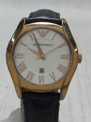 エンポリオアルマーニ/クォーツ腕時計/アナログ/レザー/WHT/キズ、スレ有