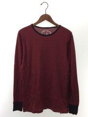 長袖Tシャツ/M/ウール/RED/ボーダー