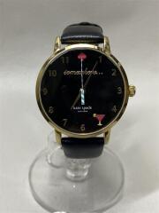 クォーツ腕時計/アナログ/レザー/BLK/BLK/KSW1039/箱有