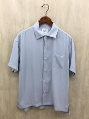 半袖シャツ/2/ポリエステル/BLU/サテンオープンカラーシャツ