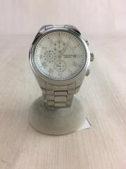 クォーツ腕時計/アナログ/ステンレス/WHT/SLV/VAW027/クロノグラフ