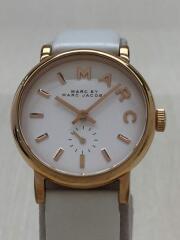 クォーツ腕時計/アナログ/レザー/WHT/WHT/MBM1284/ケース破損有