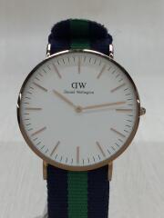 クォーツ腕時計/アナログ/キャンバス/WHT/GRN/0105DW/箱有