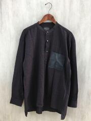 長袖シャツ/M/コットン/BLK/チェック/0175-9202/Band Collar Shirt