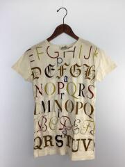 Tシャツ/S/コットン/WHT/総柄/アルファベット柄/
