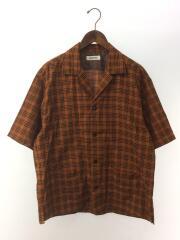 半袖シャツ/M/ポリエステル/BRW/ハpanamaチェックオープンカラーシャツ