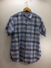 18SS/WORK SHIRT/BLUE CHECK/ワークシャツ/半袖シャツ/38/コットン/ブルー/チェック