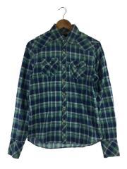 エルボーパッチウェスタンシャツ/S/コットン/BLU/チェック/ブルー