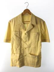 キューバシャツ/カスリ柄/オープンカラー/半袖シャツ/40/S-M相当/コットン/イエロー