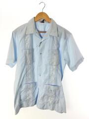 ROMANI/キューバシャツ/オープンカラー/半袖シャツ/L/ポリエステル/ブルー