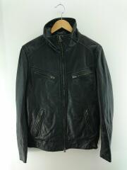 シングルライダースジャケット/4(XL)/羊革/ブラック