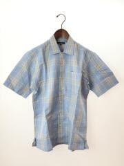 ノバチェック開襟半袖シャツ/S/リネン/ブルー/チェック/BBW68-224
