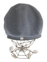 ブルーウールベレー帽/M/ウール/ブルー/無地