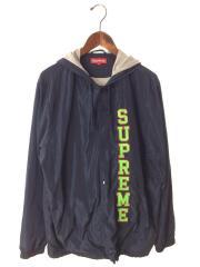 17ss/vertical logo hooded coaches jacket/L/ポリエステル/NVY/ネイビー