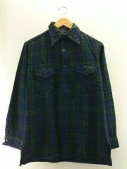 USA製/80s/ウールシャツ/長袖シャツ/M/ウール/グリーン/チェック