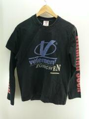 18SS/再構築/CUT LOGO L/S TEE/長袖Tシャツ/S/コットン/ブラック