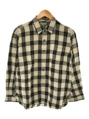 リネンチェックシャツ/579-6150020/長袖シャツ/S/リネン/ブラウン/チェック