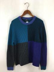 セーター/COLOUR BLOCK CREW NECK SWEATER/M/282406/ウール/BLU