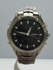 クォーツ腕時計/デジアナ/ステンレス/小傷有/NX14-0AA0