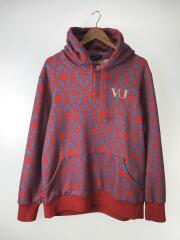 ×VALENTINO/19AW/総柄HOODIE VU Damask/パーカー/3/コットン/RED/総柄