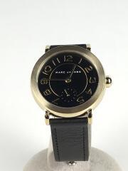 RILEY/MJ1471/クォーツ腕時計/アナログ/レザー/BLK