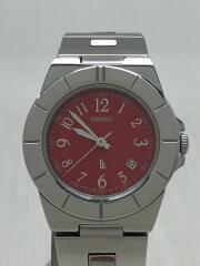クォーツ腕時計/アナログ/ステンレス/RED/SLV