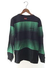 胸刺繍ロゴ長袖Tシャツ/S/コットン/BLK/ボーダー