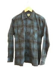 FLANNEL CHECK PRINT OPEN SHIRT/ネルシャツ/S/コットン/BLU/チェック/GL27770