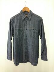 シャンブレーL/Sシャツ/長袖シャツ/14.5/コットン/BLU