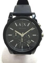 クォーツ腕時計/アナログ/ラバー/BLK/BLK/AX1326