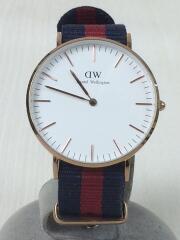 クォーツ腕時計/アナログ/キャンバス/WHT/NVY