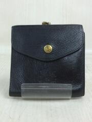3つ折り財布/レザー/BLK
