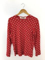L/S DOT HEART TEE/長袖Tシャツ/AZ-T166/M/コットン/RED/ド