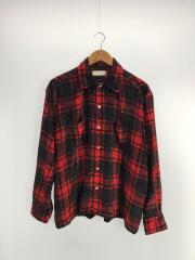0691/ベルベットバッファローチェックシャツ/17AW/長袖シャツ/46/レーヨン/RED/チェック