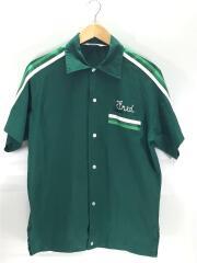 70s/ボウリングシャツ/半袖シャツ/M/コットン/GRN