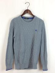 ワンポイント刺繍セーター/セーター(薄手)/2/コットン/GRY/d1n01-100-04
