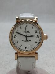 クォーツ腕時計/アナログ/レザー/WHT/WHT/14502408/マディソン/72.7.34.1083