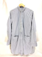 長袖シャツ/2/コットン/GRY/ストライプ/JUX4401/striped extra long shirt