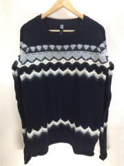 セーター(薄手)/M/ウール/BLK/総柄/ノルディック柄