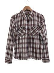 ブロックチェックシャツ/40/コットン/GRY/チェック