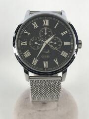 DELANCY/クォーツ腕時計/アナログ/ステンレス/BLK/SLV/W0871G1