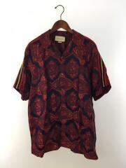 フラワージャガードボウリングシャツ/50/ポリエステル/RED/572517